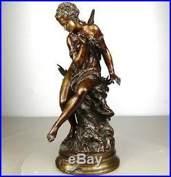 1860/1900 Mat Moreau Statue Sculpture Bronze Art Nouveau Ondine Femme Nue Naïade