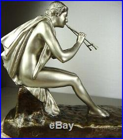1890/1920 G Obiols Statue Sculpture Ep Art Nouveau Deco Bronze Femme Nue Euterpe