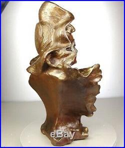 1900 A. Piquemal Rare Tres Grande Statue Sculpture Buste Art Nouveau Deco Femme