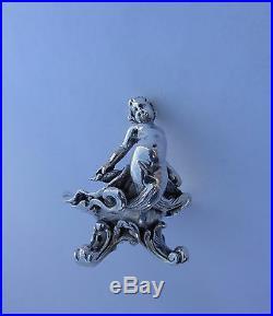 2 Français Art Nouveau Petit Argent Massif Sirène Sculptures Vagues Obus Bols