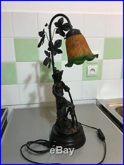 2 Lampes Art Nouveau Sculpture Signee Mario Pegoraro En Regule Patine Precieuse