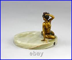 9937638-ds Bronze Sculpture Nu Art Nouveau Visitenkarten-Schale Onyx Vert