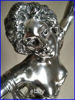 A. GORY ca1900 Authentique Sculpture Art Nouveau en Bronze argenté 72 cm signée