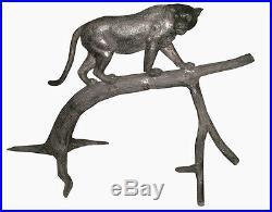 ALUMINIUM Sculpture animalière d'art Léopard sur branche Félin (0671)