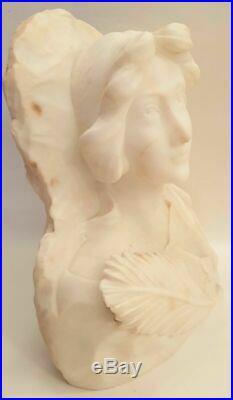 Agathon Léonard Buste Art Nouveau En Marbre De Carrare CIRCA 1900