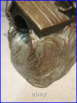Ancien Bronze sculpture Chiens Niche Grande Qualité 4 Kg Art Nouveau Antique