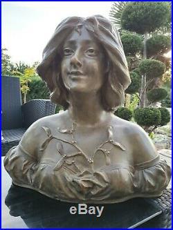 Ancien Buste femme Art Nouveau 1900. Terre cuite Andre Bruyas dlg goldscheider