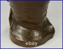 Ancien Marcel Debut (1865-1933) Français Bronze Sculpture Buste Art Nouveau Dame