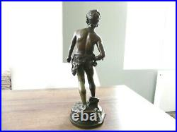 Ancien bronze David par Moreau époque XIX siècle statue sculpture