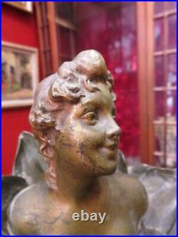 Ancien bronze statue sculpture epoque art nouveau henri godet buste femme fleur