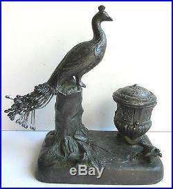 Ancien encrier 1900, en régule, sculpture PAON et Tortue, époque Art Nouveau