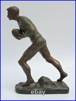 Ancien statue sculpture régule sport RUGBY 1900 Art Nouveau H. FUGERE 34 cm