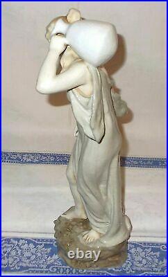 Ancienne Sculpture Art Nouveau Ceramique Craquelée Femme Signée Bernhard Bloch
