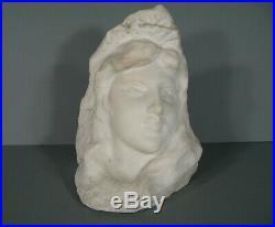 Ancienne Sculpture Symboliste En Marbre Portrait Femme Fleur Style Art Nouveau