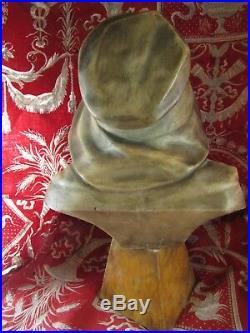 Ancienne statue sculpture marbre albatre buste jeune fille epoq 1900 art nouveau