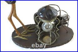 Antique Lampe de Table Art Nouveau en Bois Cigogne Sculpture Abat-Jour BM31