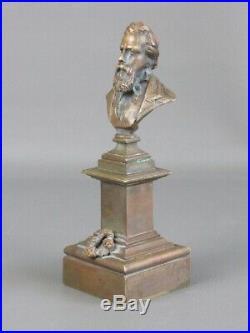 Antique Sculpture en Bronze Statue Buste Homme D'Époque Art Nouveau Début Xx