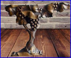 Antique Sculpture fait Main période Art Nouveau Vigne Grappe Raisin Vintage D
