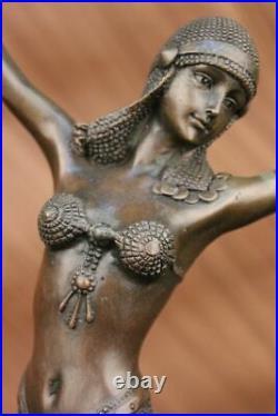 Art Déco/Art Nouveau Bronze Marbre Sculpture Signé Dh Chiparus Main Fabriqué