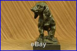 Art Déco Bronze Sculpture Statue Basset Bloodhound Chien Sleuth Figurine