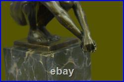Art Déco Chair Mâle Plongeur Bronze Sculpture Marbre Base Figurine Cadeau Maison