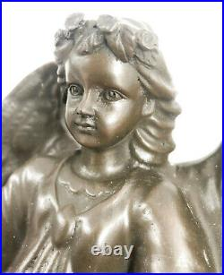 Art Déco Clé Support Mural Ange Fairy Bronze Massif Sculpture Figurine Décor