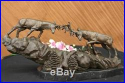 Art Déco Deux Grand Élan Combats 9.1kg Artisanal Sculpture Statue Figurine Solde