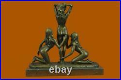 Art Déco Érotique 3 Chair Femme Bronze Sculpture Marbre Base Figurine Statue