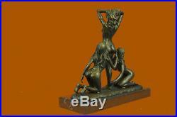 Art Déco Érotique 3 Nu Femme Bronze Sculpture Base en Marbre Figurine Statue