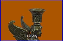 Art Déco Érotique Sphinx Bronze Bougeoir Bronze Sculpture Marbre Base Figurine