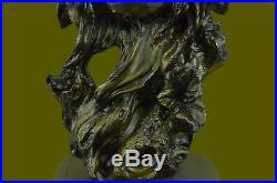 Art Déco Marbre Bronze Sculpture Statue Tête de Loup Buste Vie Sauvage Jardin