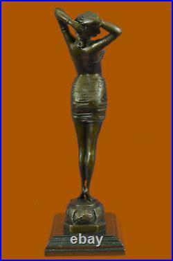 Art Déco / Nouveau Érotique Danseuse 100% Solide Bronze Sculpture Par'Lost
