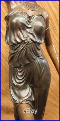 Art Déco / Nouveau Fonte Haut Femme Français Lampe Bronze Sculpture Statue Solde