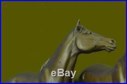Art Déco Ouest Classique Deux Chevaux Mare Poulain Sculpture Figurine Figurine