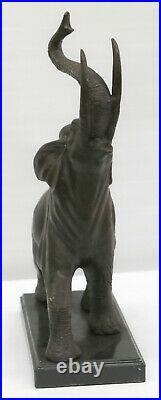 Art Déco de Collection Éléphant Avec Coffre Up Bronze Chef-D Sculpture uvre