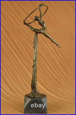 Art Décor Sexy Femelle Gymnaste Main Fabriqué Bronze Sculpture 24 Grand