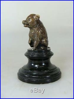 Art Nouveau Bronze Sanglier Sur Culot de Vienne Figure Sculpture Statue 20
