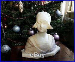Art Nouveau Buste en Marbre ANTON NELSON 1880 1910 Femme Sculpture Statue