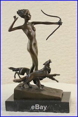 Art Nouveau Diana Nemorensis Main Fabriqué Femelle Guerrier Bronze Sculpture