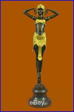 Art Nouveau Doré Dancer On Her Orteils par Chiparus Bronze Sculpture Statue