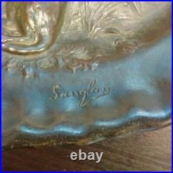 Art Nouveau Ernest Sanglan plat bronze signé sculpture Fables Lafontaine cachet