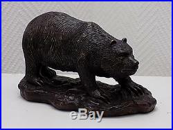Art Nouveau Figurine Bronze Braun-Schwarzbär Sculpture sur Culot 20 Sameer