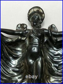 Art Nouveau Fonte & Émail Maiden Femme Bijoux Petit Plateau Sculpture