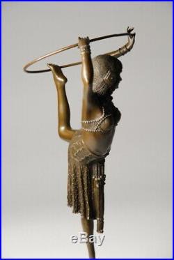 Art Nouveau Grande sculpture signée D. Chiparus Bronze d'art Envoi gratuit
