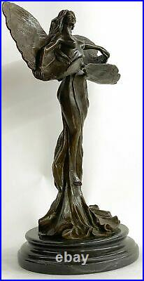 Art Nouveau Papillons Ange Érotique Sexe Statue Figurine Bronze Sculpture