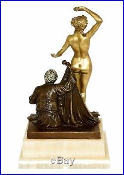 Art Nouveau Sculpture en Bronze le Esclave Los (1910) Signé Theodor Eichler
