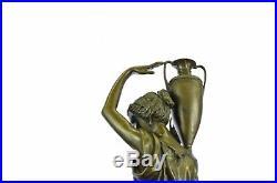Art Nouveau Statue Sculpture Porteur Jeune Maidens Guilded Bronze ou Spelter Fig