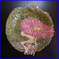 Art Nouveau poterie sculpture céramique barbotine assiette fleur fait main N7540