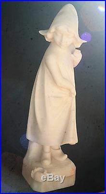Art Nouveau-sculpture-statue-petite Fille-albatre-crabe-hollandaise-epoque 1900