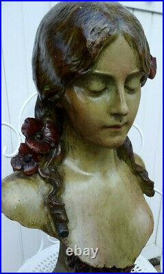 Art-nouveau 1900. Grand & Beau Buste. Jeune Femme Coiffée De Fleurs. Signée
